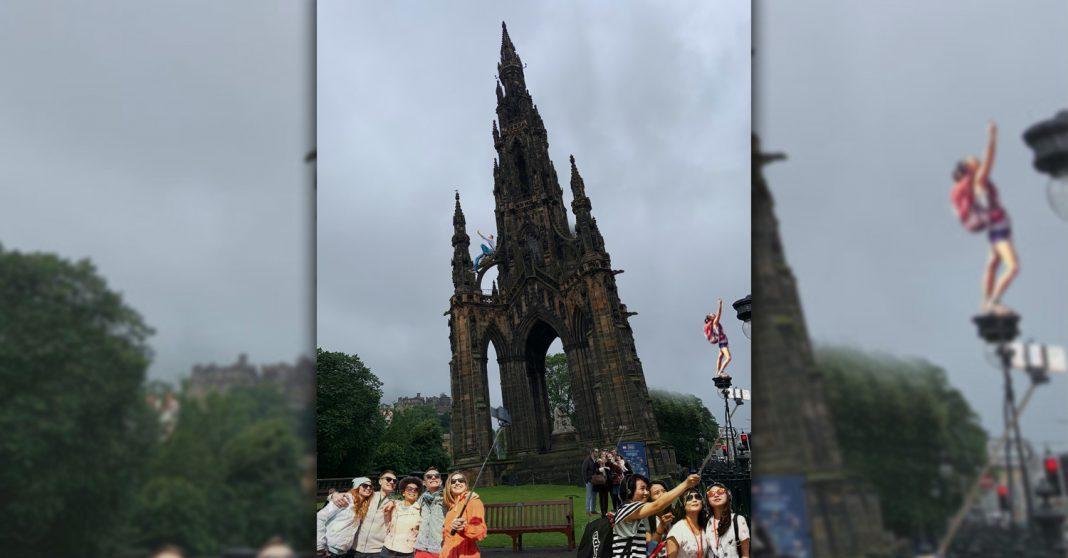 Shudder Belly propose Leaning Tower of Edinburgh